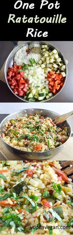 One Pot Ratatouille Rice | Yup, it's Vegan. Easy one pan meal featuring zucchini, bell pepper, Roma tomato, eggplant, herbs, and rice. #vegan #glutenfree #vegetarian