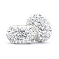 Set of 2 - Bella Fascini Clear White Crystal Pave Sparkle Bling - April Birthstone - Solid .925 Sterling Silver Core European Charm Bead Made with Authentic Swarovski Crystals - Compatible Brand Bracelets : Authentic Pandora, Chamilia, Moress, Troll, Ohm, Zable, Biagi, Kay's Charmed Memories, Kohl's, Persona & more!, http://www.amazon.com/dp/B005LKBFNA/ref=cm_sw_r_pi_awdm_b14fub00XE7V1