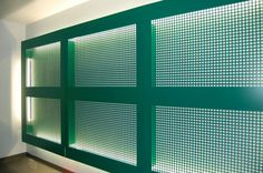 Light and perforated metal--gorgeous!  I'd love these as indoor shades.
