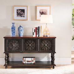 新款特价欧美式玄关桌艺术雕花实木餐边桌置物桌 储物多功能桌子-淘宝网