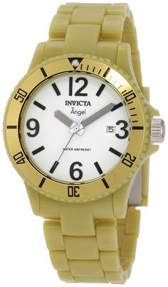 Invicta Women's 1214 Angel White Dial Green Plastic Watch *** Details can be found by clicking on the image.