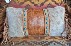 ༻❁༺ ❤️ ༻❁༺ OOAK Western Leather Pillows With Cowhide Hair & Turquoise Conchos by Stargazermercantile ༻❁༺ ❤️ ༻❁༺