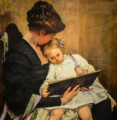 """The End of the Day,"" 1900 -- by William Sergeant Kendall (American, Seattle Art Museum, Seattle WA Reading Art, Woman Reading, Kids Reading, Reading People, Mother And Child Painting, Painting For Kids, Kendall Williams, Seattle Art Museum, Canadian Art"