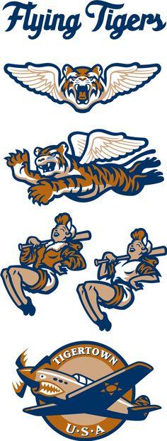 505b781b4df189 Lakeland Flying Tigers   High A affiliate of Detroit Tigers Cartoon Logo,  Typo Logo,