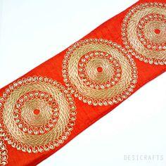 Rust and Gold Gota Patti - Sari Border - Gota Ribbon for Wedding Lehenga Dresses - Raw Silk Border, $4.25