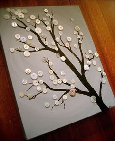 Love this tree art made with buttons. We have a variety of buttons, beads and fake pearls available - $1-$2 for a small bag. www.reversegarbage.org.au