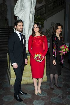 Princes Carl Philip, Princess of Sofia, and Queen Silvia of Sweden attend a formal gathering at the Royal Swedish Academy of Fine Arts on February 19, 2016 in Stockholm, Sweden.