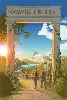 This is the entrance to Camp Half Blood, with the training in the distance! I love the pegasi in the sky!