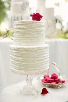 257 best simple wedding cakes images on pinterest cake wedding love the simple look homemade looking frosting 2 cakes stacked to have 2 cake flavours wouldnt have a rose on top though junglespirit Images