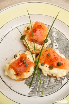 Baguette slice w/ smoked salmon, whipped egg yolks, capers, and salmon roe / An Evening of Opera--photo feature from Paprika Southern's August 2013 issue documenting preparations for a French-inspired dinner party #hostess #appetizer #foodstyling