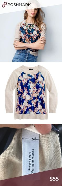 J. Crew Silk Front Flower Sweater NEW without tags! Never worn! (SEE PHOTOS). This sweater is pure luxury with a 100% silk front. Merino wool. Soft, subtle styled for fall! Perfect with brown boots and skinny jeans! More photos coming soon! J. Crew Sweaters Crew & Scoop Necks