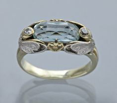 ART NOUVEAU  Butterfly Ring   Two Colour Gold Aquamarine