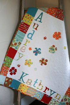 Personalized Modern Baby Quilt, Personalized Modern Baby Blanket, Personalized…