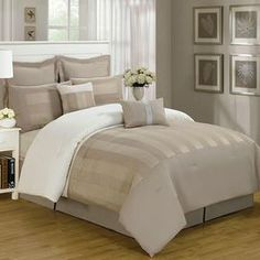 Refresh your master suite or guest room with this lovely comforter set, showcasing a geometric motif in tan.  Product: Queen: 1 Comforter, 2 euro shams, 2 standard shams, 2 decorative pillows and 1 bed skirtKing: 1 Comforter, 2 euro shams, 2 standard shams, 2 decorative pillows and 1 bed skirtConstruction Material: Double brushed microfiberColor: TanFeatures: Striped motif