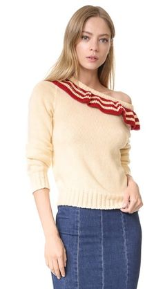 PHILOSOPHY DI LORENZO SERAFINI Ruffle Pullover. #philosophydilorenzoserafini #cloth #dress #top #shirt #sweater #skirt #beachwear #activewear