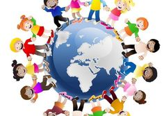 Illustration about Illustration of children holding hands surrounding the globe, symbolizing world unity and peace isolated on white background. Illustration of cultures, diverse, child - 17666969 Kids Wall Decals, Wall Stickers Murals, Wall Murals, Kids Around The World, People Of The World, Around The Worlds, Unicef Logo, Diversity Poster, Children Holding Hands