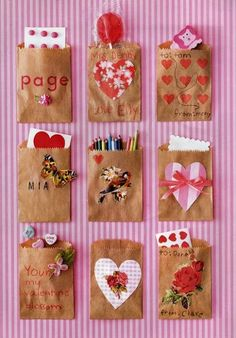 Make a wall with each child's name on each small brown bag. Allow each child to decorate their own bag.