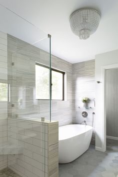 Layout option for shower if stand-alone tub | Interior design by Elena Calabrese Design & Decor