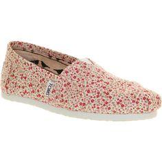 Toms Classic slip on ditsy floral berry exclusive ($64) ❤ liked on Polyvore