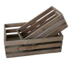 Amazon.com: MyGift Distressed Wood Nesting Boxes, Storage Crates w/ Handles, Set…