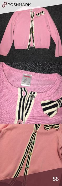 Gymboree Sweater Pink long sleeve sweater with black and white striping along buttons and multicolored buttons. Gymboree Shirts & Tops Sweaters