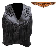 ladies women's black rose leather vest soft $40.95#rosevest #womensvest #leathervest https://theleatherdropship.com