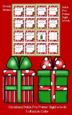 Complete set of Dolch Pre Primer Christmas task cards.  There are three choices to choose from before writing in each word box.  Answers are included. Grades: PreK, Kindergarten, Homeschool.