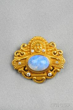 Art Nouveau Mesoamerican-style 14kt Gold, Opal, and Diamond Brooch | Sale Number 2601B, Lot Number 314 | Skinner Auctioneers