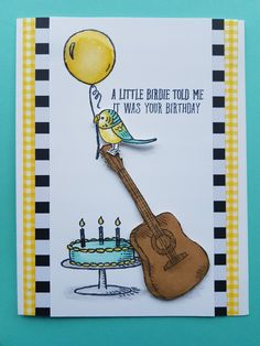 Super cute birthday card for my son who loves guitar & birds. Bird Banter, Country Livin' & Big Day stamp sets.