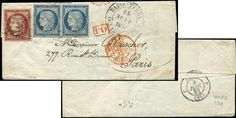 4 25c. bleu PAIRE + N°6 1f. carmin, obl. GRILLE SANS FIN s. LSC de BASSE TERRE GUADELOUPE, càd 14/5/52, arr. PARIS 8/6, TTB