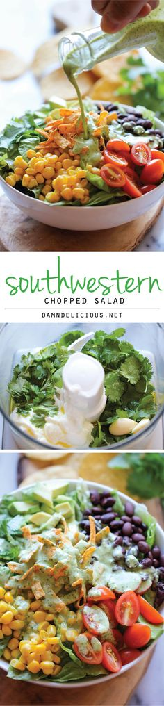 Southwestern Chopped Salad with Cilantro Lime Dressing ~ A tex-mex style salad with an incredibly creamy Greek yogurt cilantro dressing! #delicious  #Amazing  #healthy_food  #health #food  #diet  #fresh  #HealthyFood  #recipe  #salad #tasty  #colorful