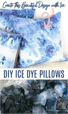 DIY Ice Dye Pillow Tutorial Diy Crafts For Adults, Easy Diy Crafts, Diy Crafts To Sell, Fun Crafts, Fun Diy, Decor Crafts, Vinyl Crafts, Fabric Crafts, Ice Dyeing