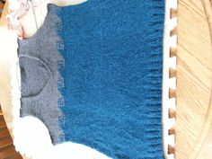 Elsebeth Lavold Calm Wool yarn.  Vertigo 2 vest almost done.  Wet blocking then need to sew shoulders and add ribbing.