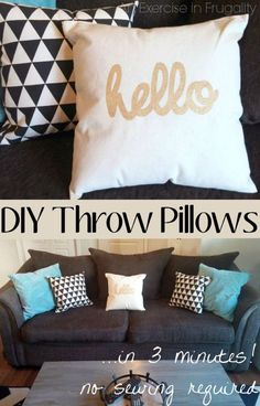 DIY No-Sew Throw Pillows made from canvas shopping bags! What a great way to reuse the re-usable shopping totes. And no sewing. Literally 3 minutes start to finish and under $4 each. Cute!! - An Exercise In Frugality