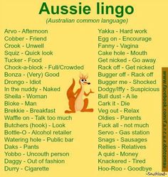 Lingo Dump, Slang for the Masses. Australian Memes, Aussie Memes, Australian Accent, Australian English, Australian Recipes, Australian Icons, Australian Animals, Australian Sayings, Australian Dictionary
