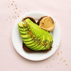 Paleo avocado toast with cashew butter, chia seeds, and bee pollen Bee Pollen, Cashew Butter, Healthy Breakfast Recipes, Chia Seeds, Avocado Toast, Clean Eating, Paleo, Gluten Free, Group