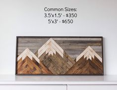 Mountain Art Pieces made from reclaimed barnwood.  May be customized to any size or color specifications!                                                 Click HERE for questions or if you'd like a quote on measurements to fit your space!