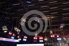 Photo about Grid lights inside the TV studio - lighting installation. Image of ceiling, indoors, inside - 78429716 Studio Lighting, Light Installation, Grid, Industrial, Ceiling, Technology, Stock Photos, Lights, Tv