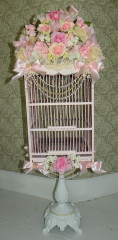 Shabby pink birdcage---DON'T LIKE STAND, makes cage lopsided