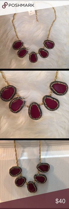 NWT talbots stone necklace gorgeous! Gorgeous Brand new with tags (3 for sale) Women's talbots gold necklace with burgundy gem stones and dark grey with rhinestones. New With Tags!! Talbots Jewelry Necklaces