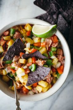 grilled pineapple and proscuitto salsa