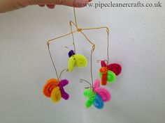 Little pipe cleaner butterflies mobile