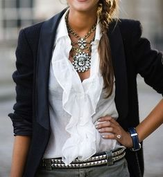Love this little ruffled blouse with the boyfriend blazer-not to mention the fabulous accessories!