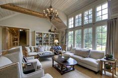 Amazing living room,  linen sofas, seagrass rug,  Otomi throw