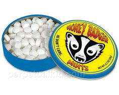 Honey Badger Mints Got bad breath? Honey badger don't care, but he's willing to help. After you eat a mouse, a cobra or even bee larva, you'll need a nice strong mint that isn't afraid of anything. Giant Candy, Sour Patch Kids, Mint Tins, Honey Badger, Sugar Candy, Bee Sting, Quirky Gifts, Bad Breath, Candy Store