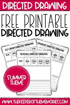 These Free Printable Summer Directed Drawing worksheets are not only the perfect way to learn how to draw but also to practice creative writing skills with your little kids. Grab yours today! #summer #printables #directeddrawing #art #writing #copywork #drawing #creativewriting Sensory Activities Toddlers, Kids Learning Activities, Teaching Kids, Diy Crafts For Kids Easy, Craft Projects For Kids, Diy Projects, Preschool Printables, Free Printables, Preschool Worksheets
