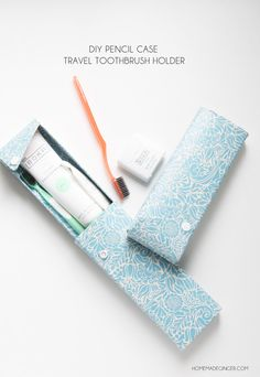 Cover some pencil cases in contact paper for the perfect way to take your toothbrushes and toothpaste on the go! These diy pencil case toothbrush holders couldn't be easier!