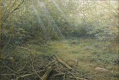 「 森の領域(春)」 続木唯道 油彩(P50号) 2002 第二回夢広場はるひ絵画ビエンナーレ奨励賞   お馴染みのうさぎを森に遊ばせてみた。  自然讃歌を謳った「森の領域」と題する作品はこの(春)の他に(秋)がある。鬱蒼とした森は想像の中の架空の世界。  優しい風が吹いて木々が戦ぎ、注ぐ木漏れ日をキラキラと揺らしている。 動物達の棲家の「森」は自然の領域の一つだが、それぞれの領域に適応した生き物がいて、思いがけない所でふと彼らに遭遇することがある。  全神経と感情が研ぎ澄まされる瞬間だ!そんな遭遇の一瞬を絵にしてみたいと思う。そこで記憶の中にある幾つかの場面を融合させるわけだ。 「第2回夢広場はるひ絵画ビエンナーレ」で賞を頂いた時の審査員のコメント「いかにも嘘っぽいバーチャルな世界が魅力的」が、この作品への奨励の言葉としてその後の制作への弾みとなっている。