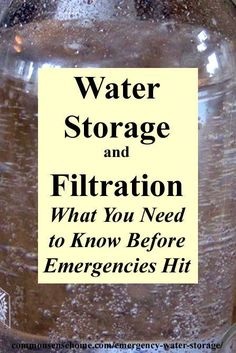 Emergency Water Storage and Filtration: How much water do I need to store? What containers should I use for water storage? How can I filter/purify water in an emergency? Survival Life Hacks, Survival Supplies, Emergency Supplies, Survival Food, Survival Prepping, Survival Skills, Homestead Survival, Survival Shelter, Survival Quotes