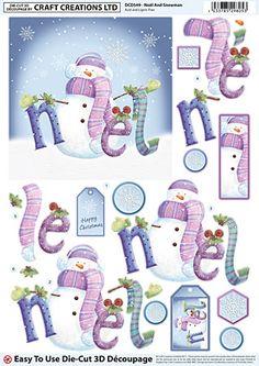 Die Cut Decoupage - Noel & Snowman (Pack of — Craft Creations Christmas Decoupage, 3d Christmas, Christmas Clipart, Christmas Sheets, Christmas Quotes, Printable Christmas Cards, Xmas Cards, Decoupage Printables, Party Printables